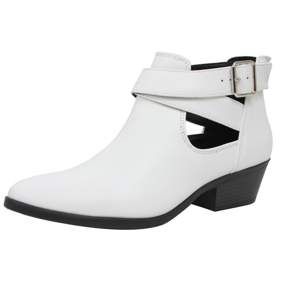 dbbd480569f White Double Buckle Cutout Low Heel Ankle Boot